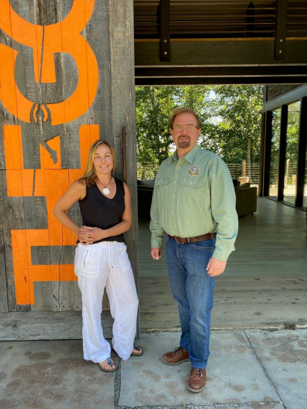 Sara Bell, owner of the Gorge in Saluda and Senator Chuck Edwards.