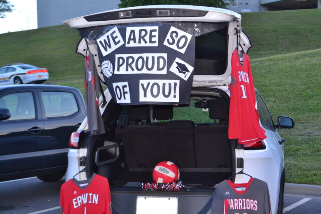 Cars decorated by coaches celebrated each sports team. Photo by Abi Cole.