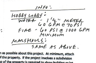On the water line extension request the requester made this note about what was planned for the building. Screenshot of plans.