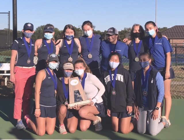 Asheville School Lady Blues are 3A state tennis champions. Photo courtesy of Asheville School.