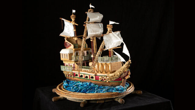 This 2019 gingerbread clipper ship by Wanda Myers was an adult entry. Photo courtesy of Omni Grove Park Inn.