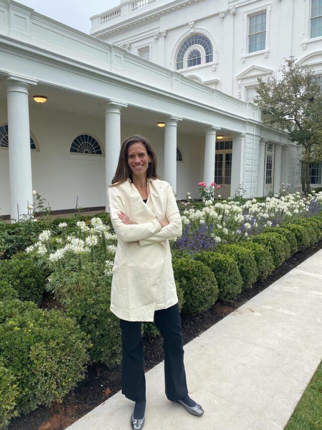 Jennifer Pharr Davis is in front of the White House Rose Garden.  Photo courtesy of Jennifer Pharr Davis.