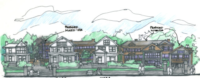 """By building onto the rear of the homes along Charlotte Street, the existing structures can retain their front facades and architectural features, while maximizing commercial/ residential space as needed. This would also resolve any accessibility issues posed by the historic structures.""""  Rendering  courtesy of Methvin and Dyer."""
