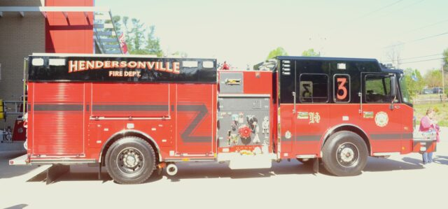 The new Smeal 33-foot-long, $600,000 fire truck. Photo by Pete Zamplas.